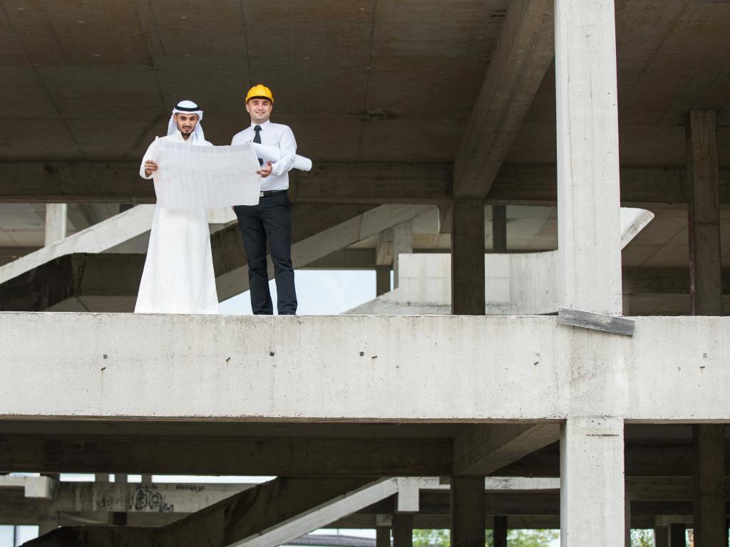 Eine Baustelle in Abu Dhabi